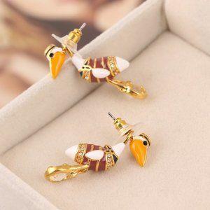 Kate Spade Enamel Glazed Pelican Earrings